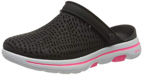 Skechers Go Walk 5, Sandali a Punta Chiusa Donna, Nero (Black/White Synthetic BKW), 39 EU