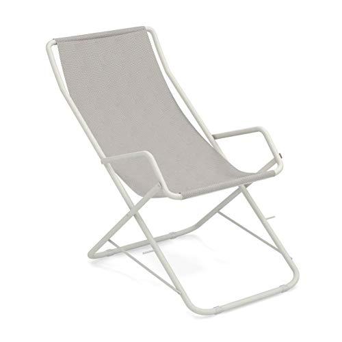 Bahama Liegestuhl, eisweiß weiß Sitzfläche EMU-Tex eisweiß BxHxT 58x95x108cm Gestell Stahl weiß