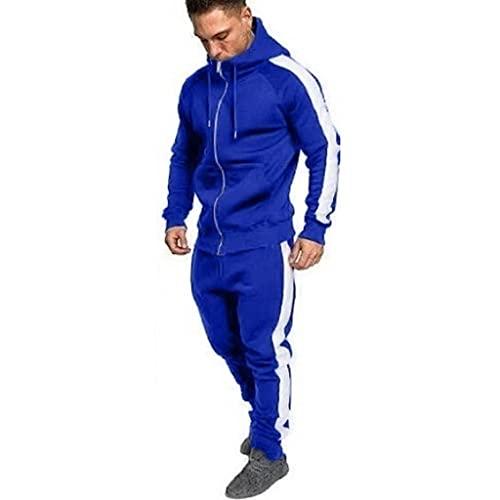 MITCOWBOYS Chándal para hombre, tallas grandes, ropa deportiva para hombre, ropa deportiva, chándal, ropa deportiva, chándal, chándal, sudadera con capucha y pantalones de jogging., azul, M