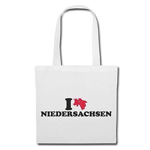 Tasche Umhängetasche I LOVE NIEDERSACHSEN - DEUTSCHLAND - BUNDESLAND - GERMANY - HAUPTSTADT Einkaufstasche Schulbeutel Turnbeutel in Weiß