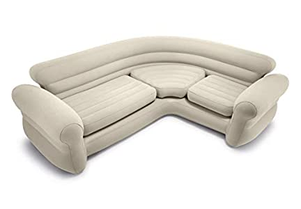 Intex 68575N, Sofá rinconera hinchable, 257x203x76 cm, color crema, three_seats, pvc - 97%; rayon - 3%