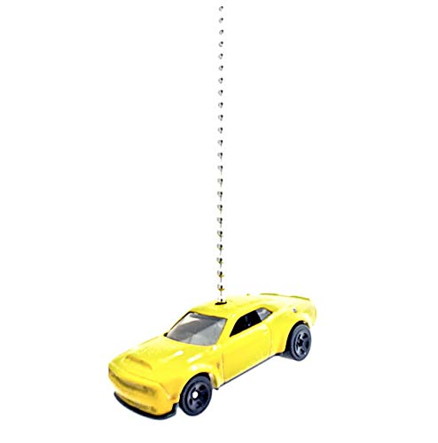Dodge Challenger Charger Diecast Ceiling Light Fan Chain Pull Ornaments (2018 Yellow Dodge Challenger SRT Demon 135)
