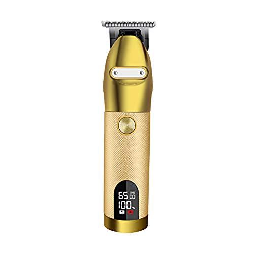 Recortadora de cabello recargable Afeitadora portátil Pro Gold Skeleton Acero inoxidable Carcasa...