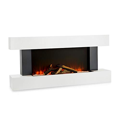 Klarstein Studio Light & Fire 1 Fireplace - Electric Fireplace, Electric Fireplace with Flame Effect, 1000/2000 Watts, Timer Function, Thermostat, MDF Enclosure, Incl. Remote Control