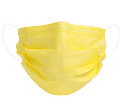 Mundschutz Maske Einweg Mund- Nasenbedeckung Gesichtsmaske 3-lagig Staubschutz Schutzmaske mit Ohrschlaufen schützt vor Verschmutzungen - 50 Stück gelb (AM-03S1)