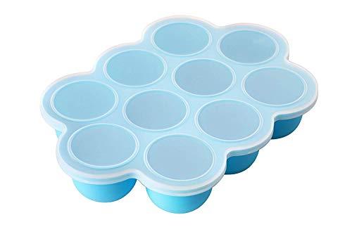 Faneli Aufbewahrung Babynahrung, Silikon Baby Food Gefrierschrank Tray Mit Deckel, Babybrei-aufbewahrung-Gefrierform zum Einfrieren, BPA Frei & FDA Zugelassen - Blau