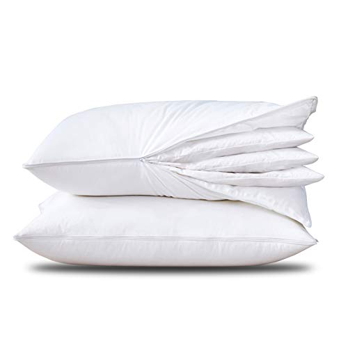 Three Geese Adjustable Layer Down Feather Pillow,Assemblable Bed Pillow,100% Soft Egyptian Cotton Cover,Good for Side and Back Stomach Sleeper, Queen Size,Packaging Include 2 Pillows.