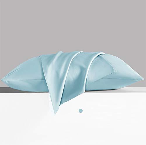 Kühlende 100 % Tencel Lyocell Kissenbezüge, 2 Stück, atmungsaktiv, kühle, ultra-seidig, weich, Viskose aus botanischem Material, feuchtigkeitsableitend (40 x 60 cm, blau)