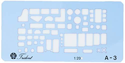 A-3 Gabarito Completo de Móveis e Sanitários, 10 x 5 cm, Trident cores sortidas