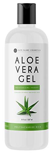Aloe Vera Gel for Moisturizing Skin & Hair by Kate Blanc Cosmetics. Made from Freshly Cut Organic Pure Aloe Plant. 8oz. (Original)