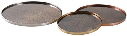 Plateaux ronds en métal patiné et verre (Lot de 3)