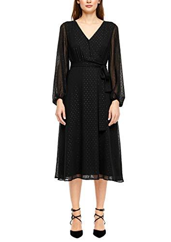 s.Oliver BLACK LABEL Damen Plumetis-Kleid in Wickel-Optik black velvet 38