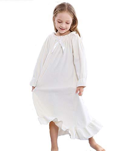Gagacity Nachthemden Damen und Mädchen Langarm Eltern-Kind Lang Nightdress Flanell Sleepwear