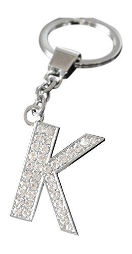 Alphabet Keyring A-Z Initials Letter Key Ring Shiny Silver Key Chain (K)