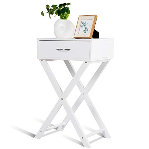 COSTWAY Nachttisch aus Holz, Beistelltisch mit Schublade, Kaffeetisch, Telefontisch, Nachtschrank, Nachtkonsole, Nachtkommode, Holztisch für Schlafzimmer, Wohnzimmer, weiß