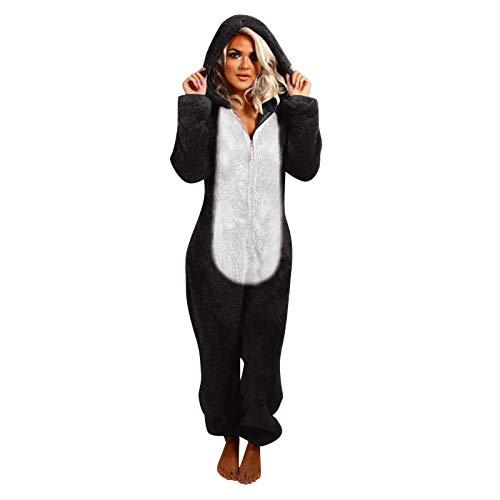Blingko Ganzkörper Schlafanzug Damen Jumpsuit Teddy Fleece Einteiler Overall Anzug Flauschig Onesie Pyjama Teddy Fleece Winter Warme Kapuzenoverall Schlafoverall Nachtwäsche Oversized
