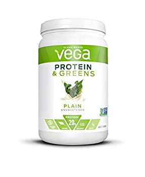 Vega Protein and Greens Plain Unsweetened Vegan Protein Powder 20g Plant Based Protein Low Carb Keto Dairy Free Gluten Free Non GMO Pea Protein for Women and Men 1.3 Pounds  21 Servings
