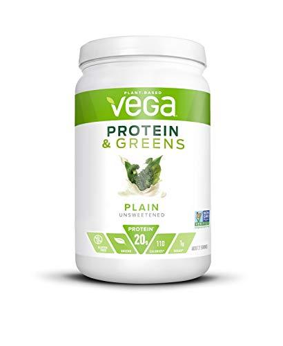 维加蛋白和绿色蔬菜,纯无味,植物蛋白粉加上蔬菜-素食蛋白粉,酮友好,素食,不含大豆,不含乳制品,不含乳糖(21份,1磅4.7盎司)