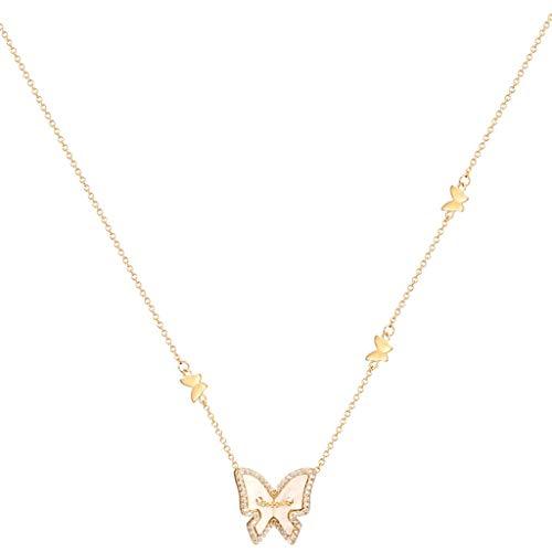 ZANZAN Collares de mariposa exquisita gargantilla collar de plata 925 chapado en oro con colgante de mariposa brillante Chocker para el regalo de las mujeres de los hombres/las mujeres collares