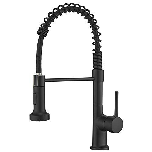 GIMILI Solid Brass Kitchen Faucets with Pull Down Sprayer Faucet for Farmhouse Camper Laundry Utility Sinks Matte Black