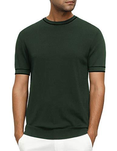 PJ PAUL JONES Men's Summer Sweaters Short Sleeve Knit Golf Crew Neck Pullover Sweater Army Green S