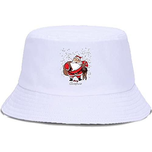 BOIPEEI Navidad Ciervo Papá Noel en la Nieve Imprimir Hombres Mujeres Moda Algodón Sombrero Gorra Plegable Harajuku Hombres Mujeres