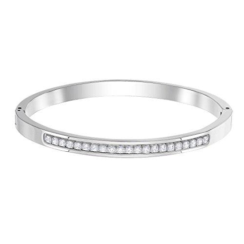 Swarovski Damen-Armreif Edelstahl Swarovski Kristalle M Silber 32004712