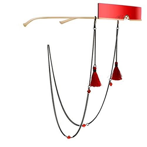 XJJZS Bohemia Tasel Rojo Cuerdas de Cristal Lectura Gafas Cadena Moda Moda Gafas de Sol Accesorios Accesorios Cuerdas Sostenga Correas (Color : A, Size : Length-70CM)