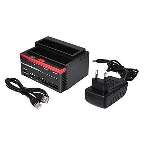 USB DUAL BAY DOCK SATA SSD CAJAJE EXTERNO DURO DE DUCHO DE DUCHO DE DUCHO DE LA TARJETA SD TF Lector de tarjetas Utilidad