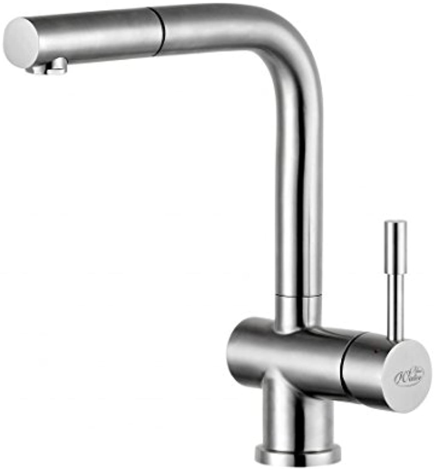 blueewater Kitchen Sink tap Made of Stainless Steel (Brushed) with Pull-Out spout Corsa-INOX, Grey
