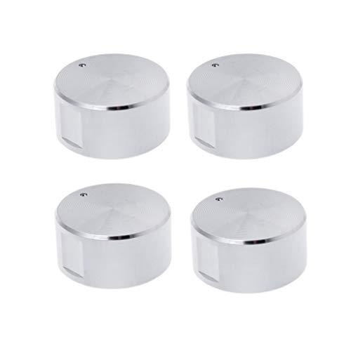 fivekim 4-teiliges Set Drehschalter rund Gas-Pfanne Brenner Backofen Küche Griffe Ofen Gas Herd Knopf Schalter Silber