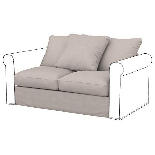 Soferia Funda de Repuesto para IKEA GRONLID módulos sofá de 2 plazas, Tela Majestic Velvet Dove, Gris