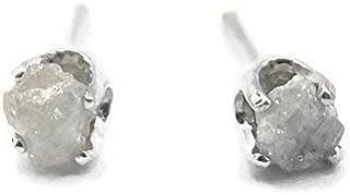 Sterling Silver Rough White Diamond Stud Earrings