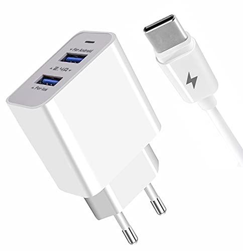 APOKIN® Cargador Ultra Rapido Doble con Cable Tipo-C USB 3.0 18w Compatible Samsung Galaxy A51 A71 A52 5G A50 A20E A20 A30S A30 M20 M30S,Huawei, Xiaomi, Vivo, Realme, OPPO. Cable Tipo C