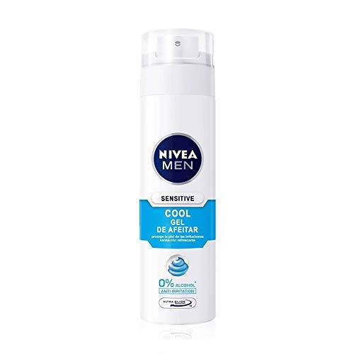 NIVEA MEN Sensitive Cool Gel de Afeitar, gel refrescante con 0% alcohol, gel de afeitado para una máxima protección de la piel sensible - 1 x 200 ml