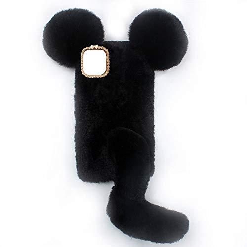 YHY Linda Funda De Teléfono con Forma De Ratón para Samsung Galaxy M12 Funda Silicona TPU Felpa Romántica Creativa De Moda Negro