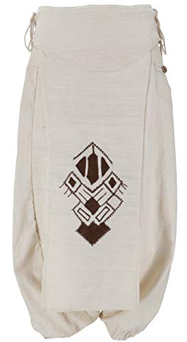 GURU SHOP Afghani Hose, Unisex Pluderhose mit Lagenrock, Goa Hosen Set, Aladinhose, Herren, Naturweiß, Baumwolle, Size:M (50), Hosen Alternative Bekleidung