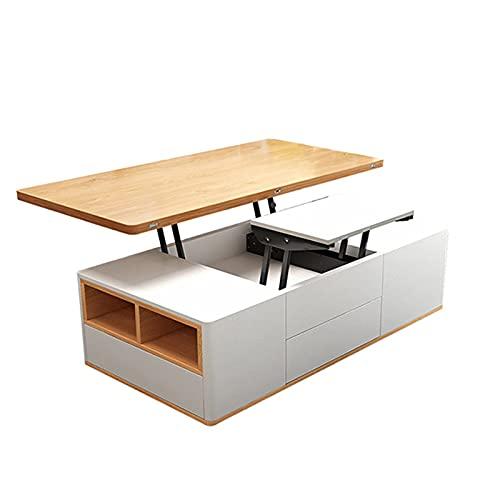 Mesa de comedor de mesa de café plegable creativa Mobile 360 ° Rotación de la computadora Escritorio de la computadora Muebles de la sala de estar Mesa final con 4 taburetes ocultos + 3 cajones de a