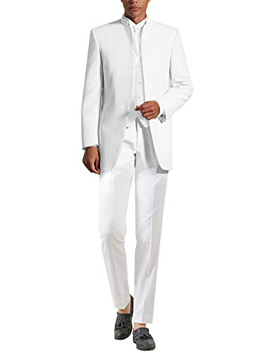 YZHEN Hommes 3 Puits Cols Costumes Blanc Costumes De Mariage De Smoking