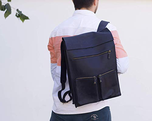 INCARNE Travel Genuine Leather Backpack - Laptop Computer Pocket Included - Heavy Duty Straps - Business School College Supplies - Best Carry on Luggage - Best Adults Waterproof Bag Camping Gear