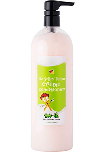 Snip-its No Yellin' Melon Natural Kids Conditioner 1 Liter Pump-Top| Nourish and Restore Swimmers Hair - Kids Detangler for Smooth Hair - Natural Conditioner Made in USA | Salon Quality Kid Friendly
