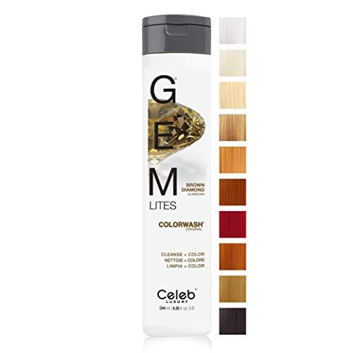 Celeb Luxury Gem Lites Colorwash, Professional Semi-Permanent Hair Color Depositing Shampoo, Brown Diamond