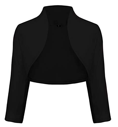 TrendiMax Damen Eleganter Bolero Jacke Schulterjacke Kurzes Jäckchen 3/4 Ärmel,Schwarz,M