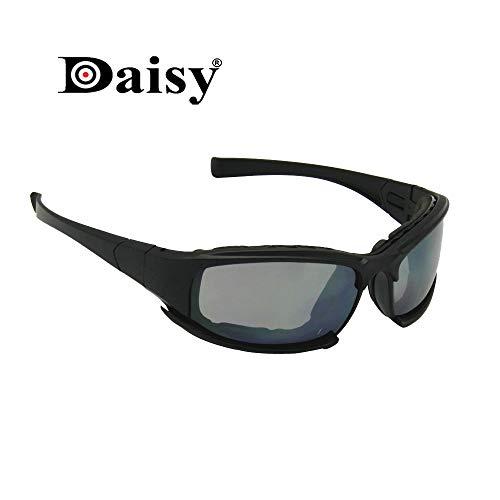 EnzoDate Polarisierte Daisy X7 Armee Sonnenbrille, militärische Brille 4 Objektiv Kit Taktische Schutzbrille (schwarz, Nicht Polarisation)