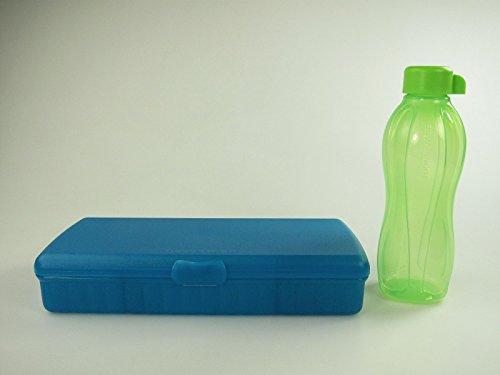TUPPERWARE To Go Pausenbuffet türkis Brotdose Box + Eco 500 ml grün Öko-Flasche