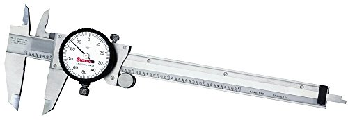 """Starrett 120A-6 Dial Caliper, Stainless Steel, White Face, 0-6"""" Range, +/-0.001"""" Accuracy, 0.001"""" Resolution"""
