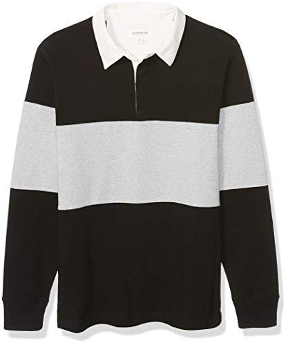 Amazon Brand - Goodthreads Men's Long-Sleeve Striped Rugby, Black Heather Grey Colorblock, Medium