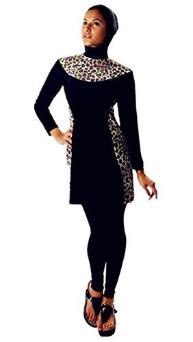Muslimischen Damen Badeanzug Muslim Islamischen Full Cover Bescheidene Badebekleidung Modest Muslim Swimwear Beachwear Burkini (Int'l – M, Hijab Connected-5)