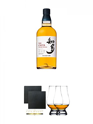 Suntory The Chita Single Grain Whisky 0,7 Liter + Schiefer Glasuntersetzer eckig ca. 9,5 cm Ø 2 Stück + The Glencairn Glass Whisky Glas Stölzle 2 Stück