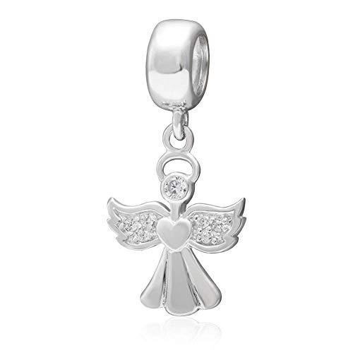 Abalorio de plata de ley 925 con forma de ángel, para pulsera Pandora
